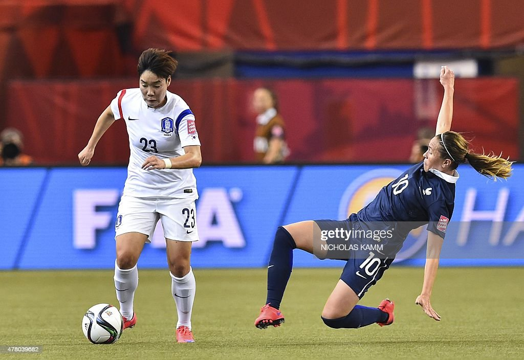 France's Camille Abily (R) tackles South Korea's Lee Geummin during a 2015 FIFA Women's World Cup round of 16 football match at the Olympic Stadium in Montreal on June 21, 2015.
