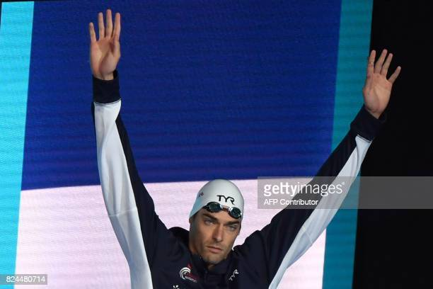 TOPSHOT France's Camille Lacourt arrives to compete in the final of the men's 50m backstroke during the swimming competition at the 2017 FINA World...