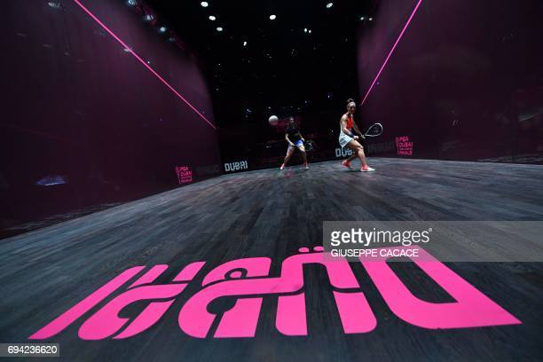 TOPSHOT France's Camille Serme competes against Egypt's Nour El Sherbini during the semifinals of the PSA Dubai World Series Finals 2017 at Dubai...