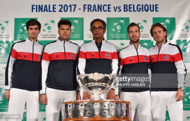 France's captain Yannick Noah poses with his players PierreHugues Herbert JoWilfried Tsonga Richard Gasquet and Lucas Pouille during the team...