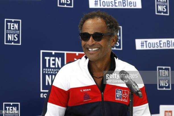 France's captain Yannick Noah smiles during a press conference in Paris on November 14 2017 to unveil France team for Davis Cup final / AFP PHOTO /...