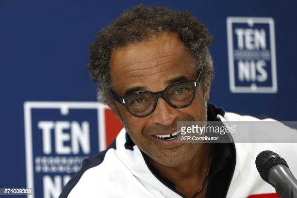 France's captain Yannick Noah speaks during a press conference in Paris on November 14 2017 to unveil France team for Davis Cup final / AFP PHOTO /...