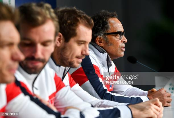 France's captain Yannick Noah takes part in a press conference ahead of the Davis Cup World Group final tennis match between France and Belgium on...