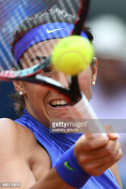 France's Caroline Garcia returns the ball to Japan's Nao Hibino during their tennis match at the Roland Garros 2017 French Open on May 30 2017 in...