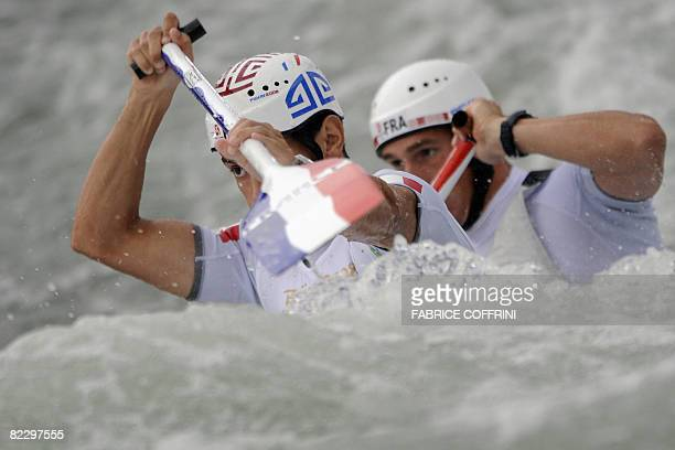 France's Cedric Forgit and Martin Braud compete in the 2008 Beijing Olympic Games men's double canoe C2 slalom semifinal event at the Shunyi Rowing...