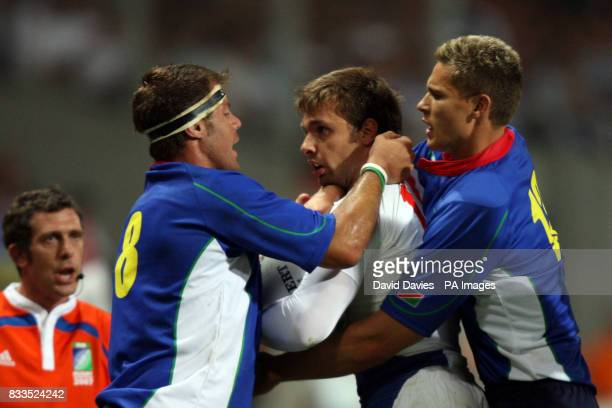 France's Cedric Heymans gets involved in a altercation with Namibia's Jacques Nieuwenhuis