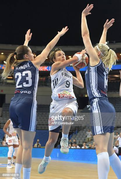 France's Celine Dumerc is blocked by Slovakia's Marie Ruzickova and Angelika Slamova during the FIBA EuroBasket 2017 women's quarterfinal match...