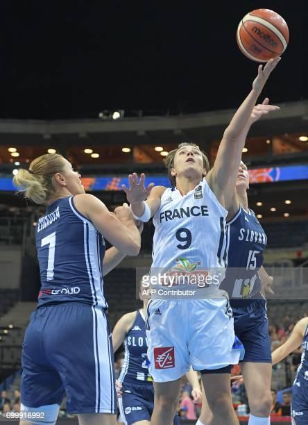 France's Celine Dumerc is blocked by Slovakia's Romana Vynuchalova and Zuzana Zirkova during the FIBA EuroBasket 2017 women's quarterfinal match...