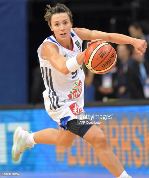 France's Celine Dumerc runs with the ball during the FIBA EuroBasket 2017 women's quarterfinal match between France and Slovakia on June 22 2017 in...