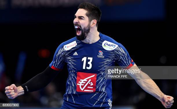 TOPSHOT France's centre back Nikola Karabatic celebrattes after opening the scoring during the 25th IHF Men's World Championship 2017 final handball...