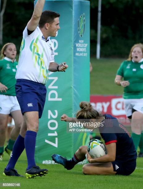 France's centre Caroline Ladagnous scores their third try during the Women's Rugby World Cup 2017 pool C rugby match between France and Ireland at...