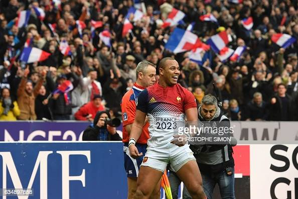 France's centre Gael Fickou celebrates after scoring a try during the Six Nations international rugby union match between France and Scotland at the...