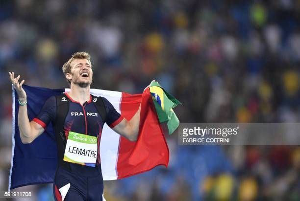 TOPSHOT France's Christophe Lemaitre celebrates after he took the third place in the Men's 200m Final during the athletics event at the Rio 2016...