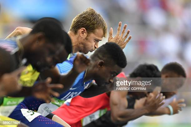 TOPSHOT France's Christophe Lemaitre competes in the Men's 100m Round 1 during the athletics event at the Rio 2016 Olympic Games at the Olympic...