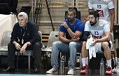 France's coach Claude Onesta assistant coach Didier Dinart and France's Nikola Karabatic look on during the 'Eurotournoi' handball match France vs...