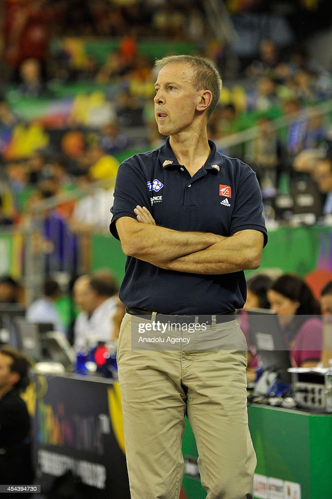 France's coach Collet Vincent in seen during the 2014 FIBA World basketball championships group A match between France and Brazil at the Palacio Municipal de Deportes in Granada, Spain on August 30, 2014.