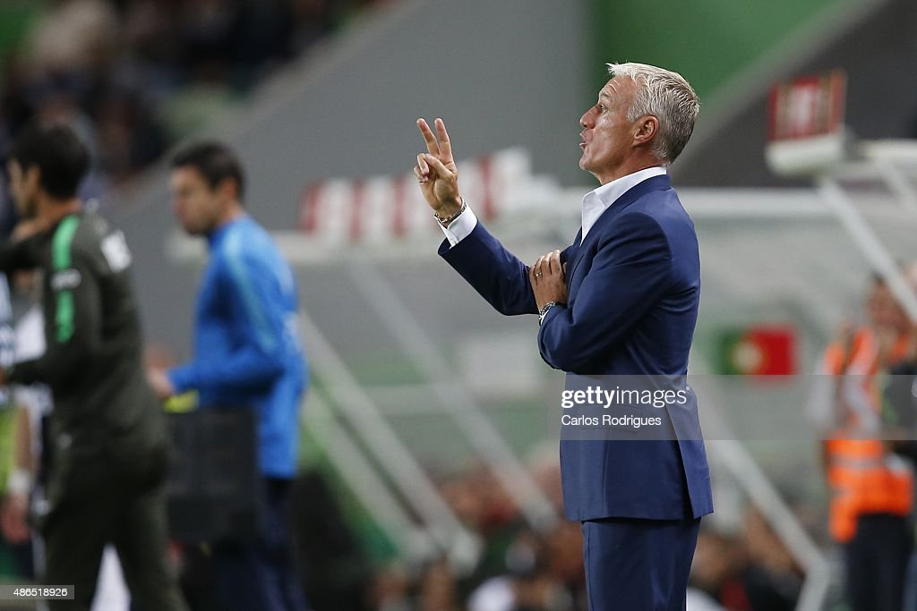 France's coach <a gi-track='captionPersonalityLinkClicked' href=/galleries/search?phrase=Didier+Deschamps&family=editorial&specificpeople=213607 ng-click='$event.stopPropagation()'>Didier Deschamps</a> during the Friendly match between Portugal and France on September 04, 2015 in Lisbon, Portugal.
