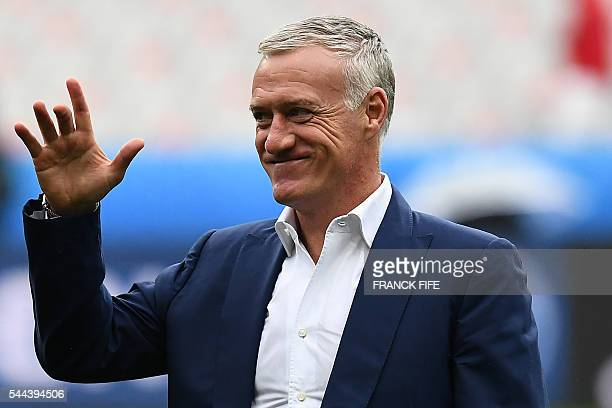 France's coach Didier Deschamps gestures as he surveys the pitch prior to the start of the Euro 2016 quarterfinal football match between France and...