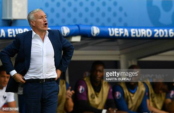 France's coach Didier Deschamps gestures during Euro 2016 round of 16 football match between France and Republic of Ireland at the Parc Olympique...
