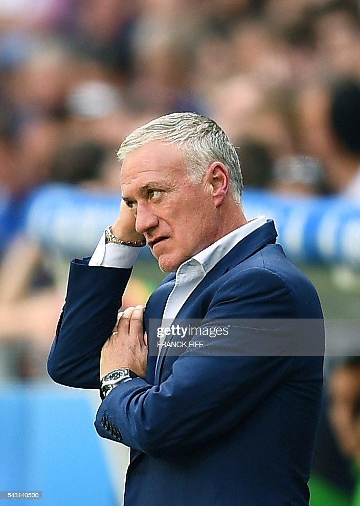 France's coach Didier Deschamps is pictured during the Euro 2016 round of 16 football match between France and Republic of Ireland at the Parc Olympique Lyonnais stadium in Décines-Charpieu, near Lyon, on June 26, 2016. / AFP / FRANCK