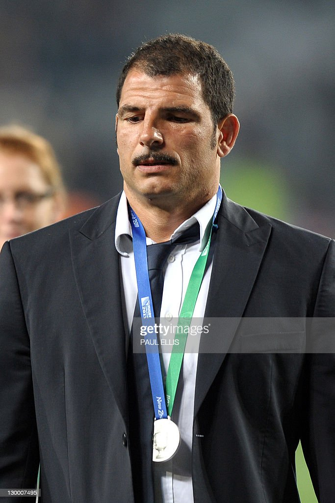 France's coach Marc Lievremont reacts after the 2011 Rugby World Cup final match New Zealand vs France at Eden Park Stadium in Auckland on October 23, 2011.
