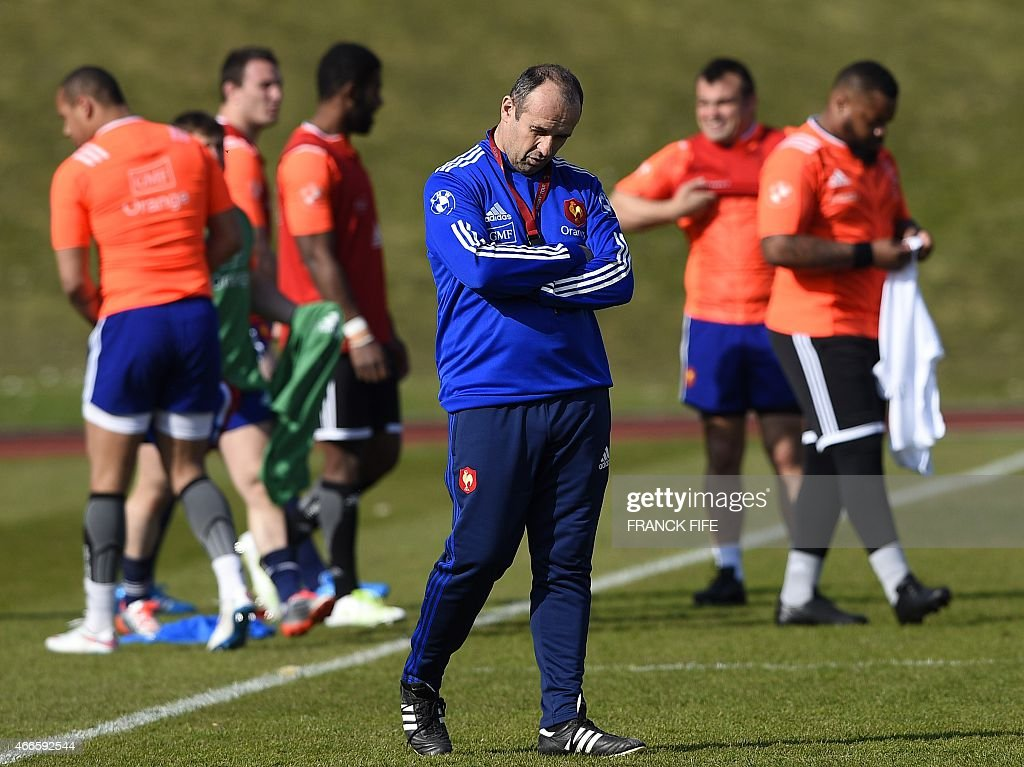 France's coach <a gi-track='captionPersonalityLinkClicked' href=/galleries/search?phrase=Philippe+Saint-Andre&family=editorial&specificpeople=2172154 ng-click='$event.stopPropagation()'>Philippe Saint-Andre</a> attends a training session in Marcoussis, south of Paris, on March 17, 2015 ahead of the Six Nations rugby union match between France and England. AFP PHOTO / FRANCK FIFE