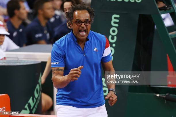 France's coach Yannick Noah reacts during the Davis Cup world group quarterfinal tennis match between France and Britain on April 8 2017 at the...