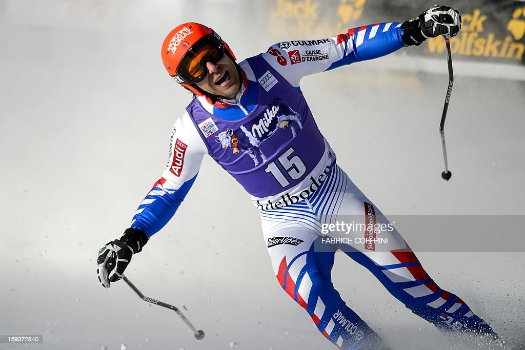 France's Cyprien Richard reacts after placed 24th in the men's giant slalom race of the FIS Alpine Skiing World Cup in Adelboden on January 12, 2013.