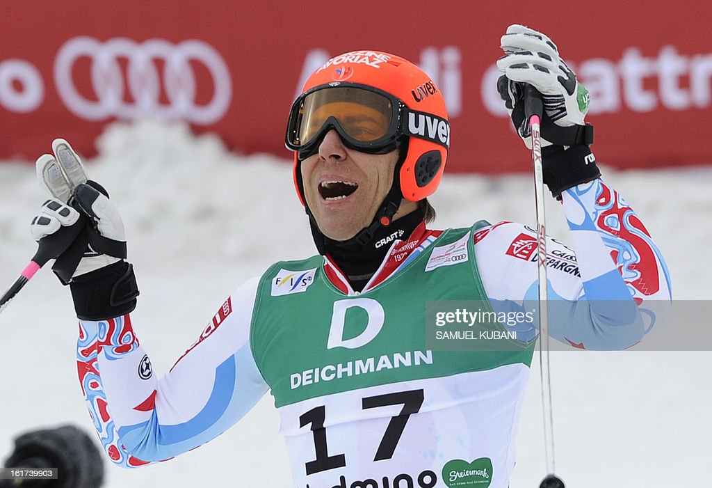 France's Cyprien Richard reacts after the second run of the men's Giant slalom at the 2013 Ski World Championships in Schladming, Austria on February 15, 2013.