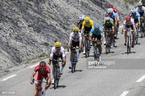 France's Cyril Lemoine Belarus' Vasil Kiryienka Spain's Mikel Landa Great Britain's Christopher Froome wearing the overall leader's yellow jersey and...