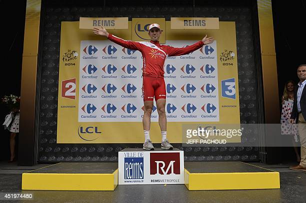 France's Cyril Lemoine celebrates his polka dot jersey of best climber on the podium at the end of the 194 km sixth stage of the 101st edition of the...