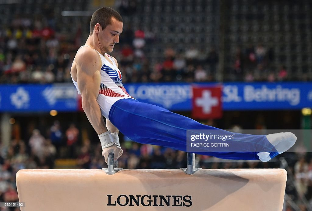 Frances Cyril Tommasone performs during the Mens Pommel Horse competition of the European Artistic Gymnastics Championships 2016 in Bern, Switzerland on May 29, 2016. / AFP / FABRICE