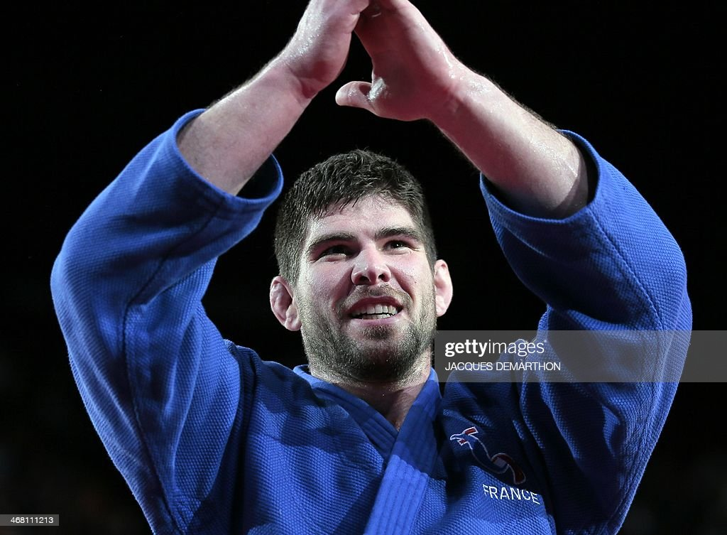 France's Cyrille Maret reacts after beating Lukas Krpalek of the Czech Republic during the men's 100kg finals at the 2014 Paris Judo Grand Slam...
