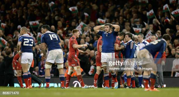 France's Damien Chouly looks dejected after the final whistle after the RBS 6 Nations match at the Millennium Stadium Cardiff