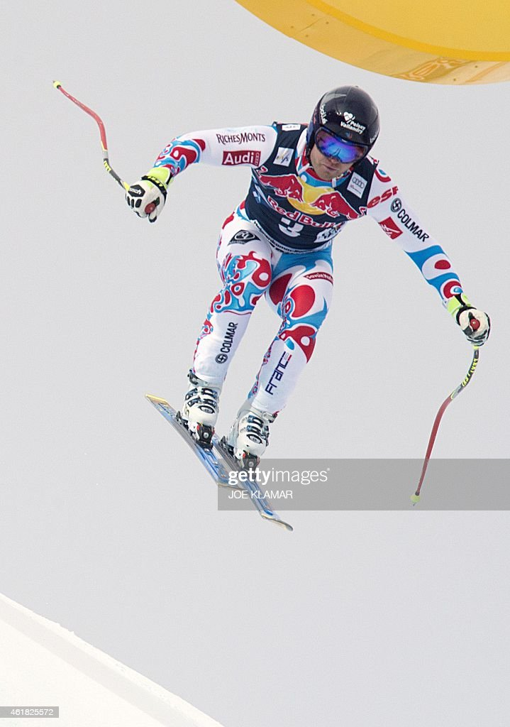 France's <a gi-track='captionPersonalityLinkClicked' href=/galleries/search?phrase=David+Poisson&family=editorial&specificpeople=2233661 ng-click='$event.stopPropagation()'>David Poisson</a> attends the men's downhill training of the FIS Alpine Skiing World Cup in Kitzbuehel, Austria, on January 20, 2015. AFP PHOTO / JOE KLAMAR