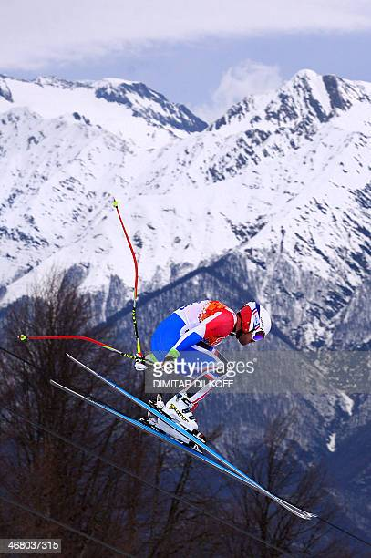 France's David Poisson competes during the Men's Alpine Skiing Downhill at the Rosa Khutor Alpine Center during the Sochi Winter Olympics on February...