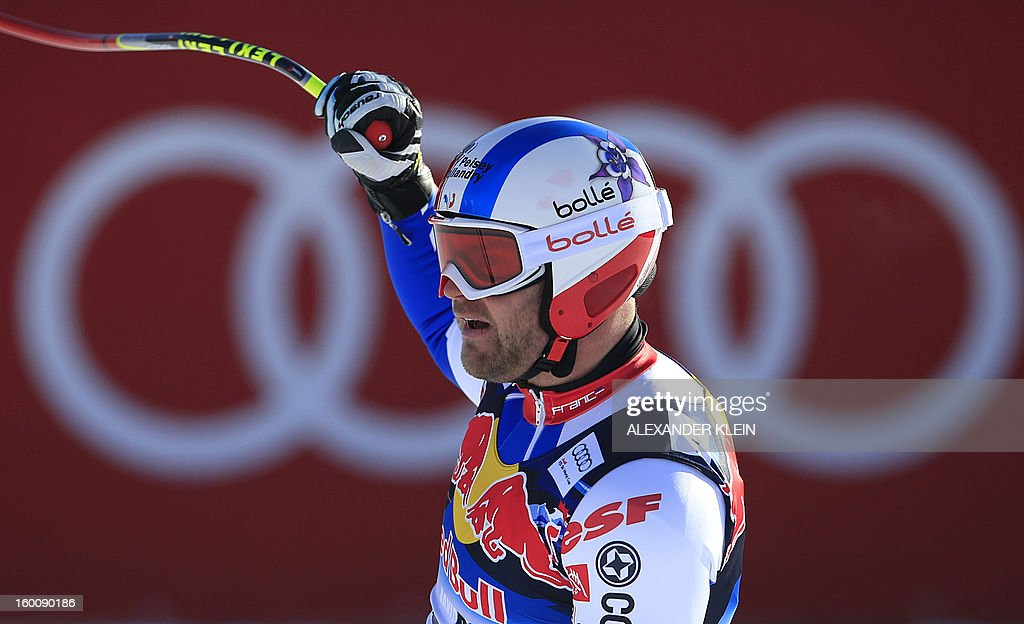 France's David Poisson reacts after competing in the FIS World Cup men's downhill race on January 26, 2013 in Kitzbuehel, Austrian Alps. Poisson finished fourth of the event. KLEIN