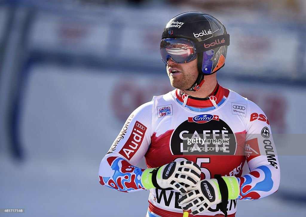 France's <a gi-track='captionPersonalityLinkClicked' href=/galleries/search?phrase=David+Poisson&family=editorial&specificpeople=2233661 ng-click='$event.stopPropagation()'>David Poisson</a> reacts during the FIS Alpine Ski World Cup Men's Downhill in Wengen on January 18, 2015. AFP PHOTO / FABRICE COFFRINI