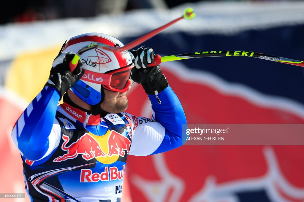 France's David Poisson reacts reacts after competing in the FIS World Cup men's downhill race on January 26, 2013 in Kitzbuehel, Austrian Alps. Poisson finished fourth of the event. KLEIN