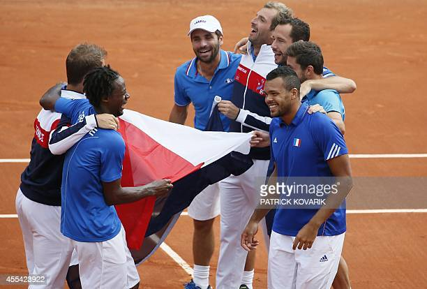 France's Davis Cup national tennis team Richard Gasquet and Gael Monfils face from left to right coach Arnaud Clement Julien Benneteau Michael Llodra...