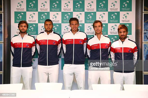 France's Davis Cup Team Gilles Simon Jo Wilfried Tsonga Nicolas Mahut Richard Gasquet and captain Arnaud Clement pose for a photo at the BNP Paribas...