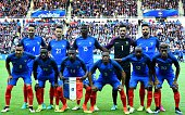 France's defender Adil Rami defender Laurent Koscielny midfielder Paul Pogba goalkeeper Hugo Lloris and forward Olivier Giroud France's forward...