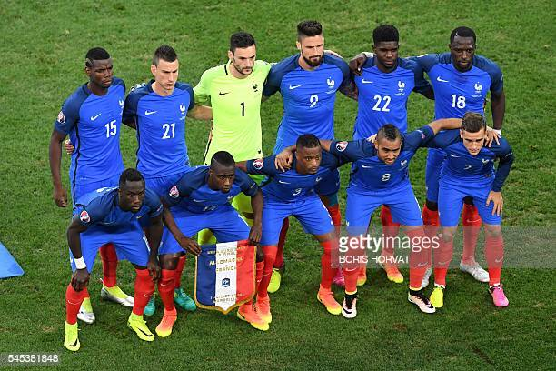 France's defender Bacary Sagna France's midfielder Blaise Matuidi France's defender Patrice Evra France's forward Dimitri Payet and France's forward...