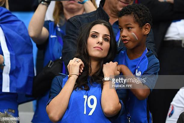 France's defender Bacary Sagna's wife Ludivine Sagna is pictured prior to the Euro 2016 group A football match between France and Romania at Stade de...