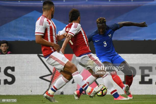 France's defender Benjamin Mendy controls the ball during the friendly football match between France and Paraguay on June 02 2017 at the Roazhon park...