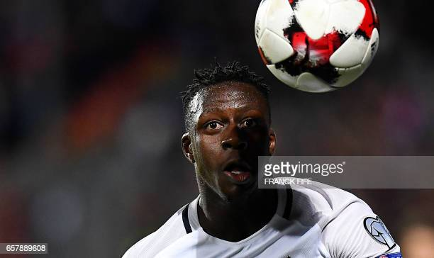 TOPSHOT France's defender Benjamin Mendy eyes the ball during the FIFA World Cup 2018 qualifying football match Luxembourg vs France on March 25 2017...