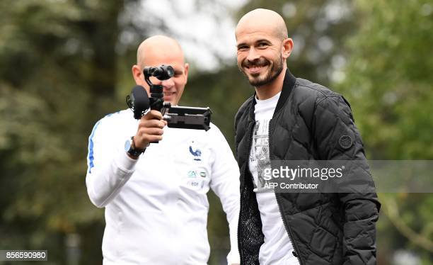 France's defender Christophe Jallet arrives in ClairefontaineenYvelines on October 2 to take part in the team's upcoming preparation for the FIFA...