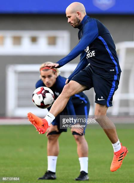 France's defender Christophe Jallet controls the ball during a training session in ClairefontaineenYvelines on October 3 in preparation for the...