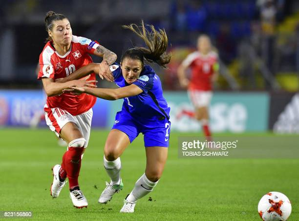 France's defender Eve Perisset challenges Switzerland's forward Ramona Bachmann during the UEFA Women's Euro 2017 football match between Switzerland...