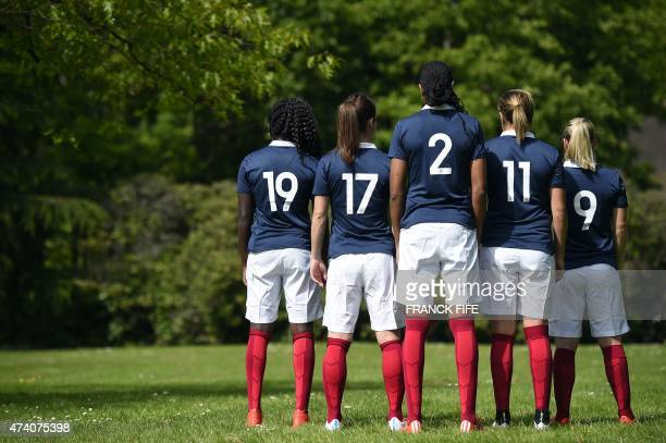 France's defender Griedge Mbock Bathy Nka France's forward Gaetane Thiney France's defender Wendie Renard France's midfielder Claire Lavogez and...